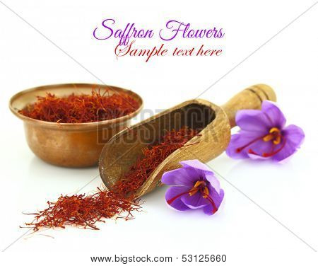 Dried saffron spice and Saffron flower isolated on white