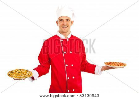 Chef mans howing pizza on plates isolated on white background poster