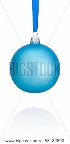 Blue Christmas Ball Hanging On Ribbon Isolated On White Background