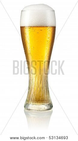 Glass of light beer with drops isolated on white background. Clipping path