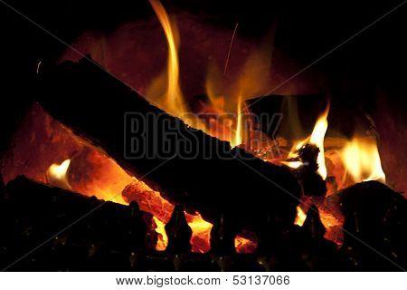 Hot Flames From An Irish Turf Fire