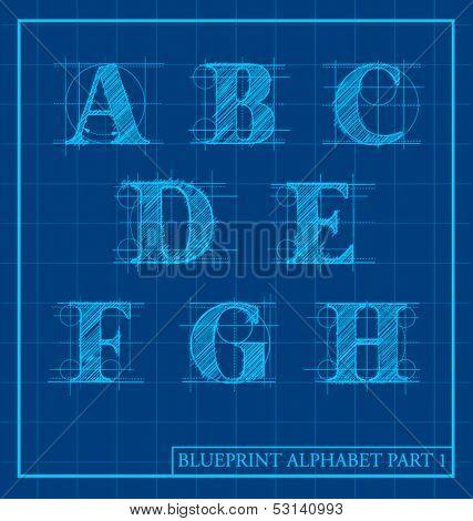 vector blueprint style font alphabet set 1