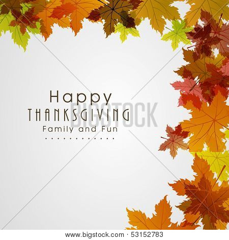 Happy Thanksgiving Day background with beautiful autumn maple leaves, can be use as flyer, banner or poster.