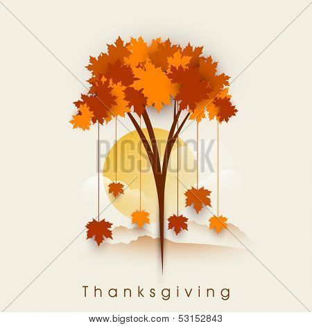 Stylize Happy Thanksgiving background with red autumn maple tree on morning background, can be use as flyer, banner or poster,  poster