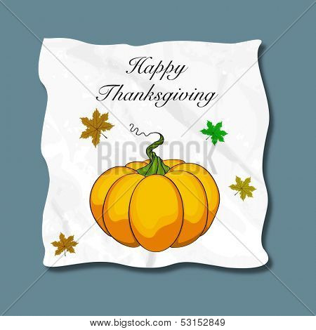 Happy Thanksgiving Day concept with pumpkin and maple leaves on blue background, can be use as sticker, tag or label.