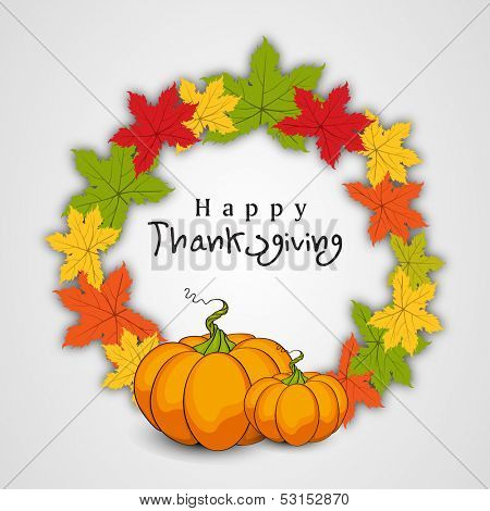 Happy Thanksgiving Day concept with beautiful autumn leaves and pumpkins, can be use as flyer, banner or poster.