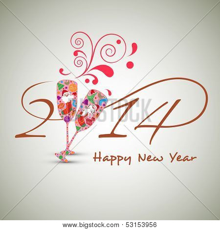 Beautiful Happy New Year 2014 celebration concept with colorful wine glasses in toasting gesture with floral splash on abstract background, can be use as flyer, banner or poster.