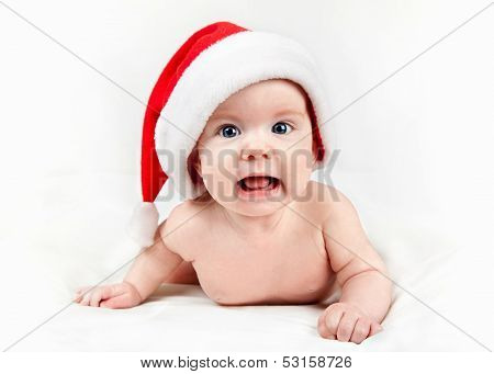 Baby In Red Santa Hat
