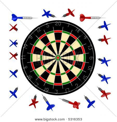 10000Px Dartboard+darts Blank For Design Variations