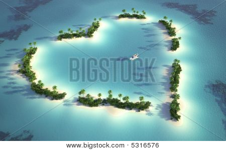 Aerial View Of Heart-shaped Island