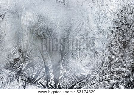 Ice Patterns On A Winter Window,Close Up
