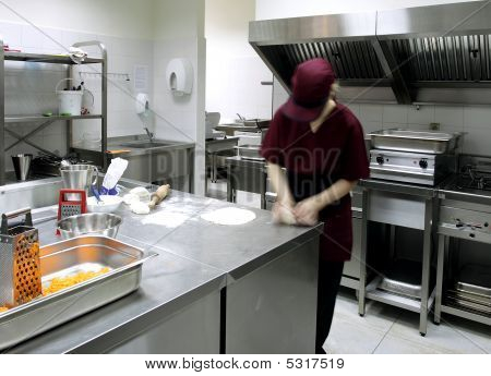 Preparing Pastry In A Restaurant Kitchen