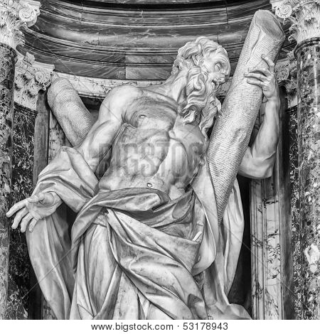 Statue of St. Andrew at the Basilica of St. John Lateran in Rome.  poster
