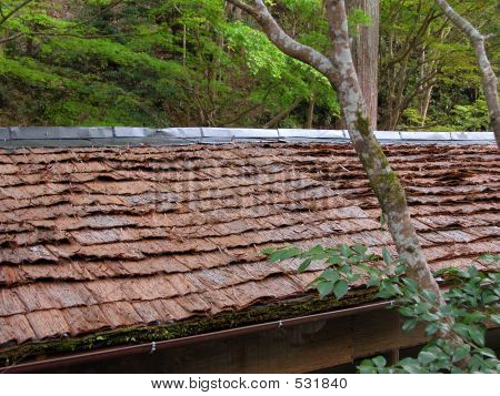 detail of a traditional bark roof characteristic for the restaurants from takao area in the north-western part of kyoto. ** note: slight blurriness, best at smaller sizes poster