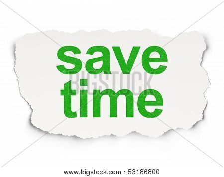 Timeline concept: torn paper with words Save Time on Paper background, 3d render poster