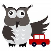 Concept of car insurance with car under owl wing protection poster