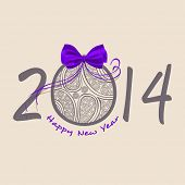 Happy New Year 2014 celebration background with decorated Xmas ball, can be use as poster, flyer or banner for Merry Christmas and New Year parties.  poster