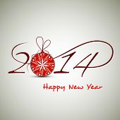 Happy New Year 2014 celebration background with stylize text and red shiny Xmas ball on abstract background, can be use as flyer, banner or poster.  poster
