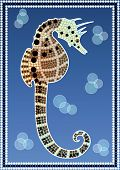 A illustration based on aboriginal style of dot painting depicting Seahorse poster