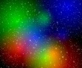 multicolor flashes in space. background poster