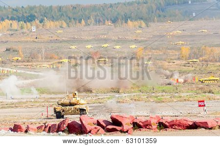 Attack of T90S tank