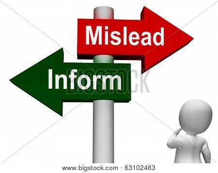 Mislead Inform Signpost Showing Misleading Or Informative Advice poster