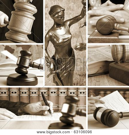 Set of wooden gavel and law 2 sepia