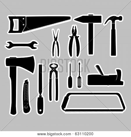 hand tools stickers set eps10