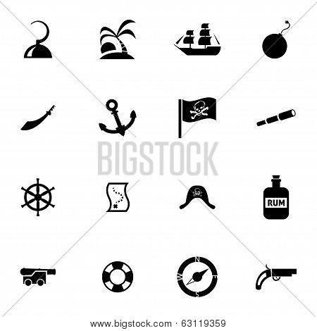 Vector black pirates icons set