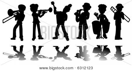 Music kids silhouettes collection isolated on a white background poster