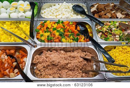Salad buffet with a lot of choice