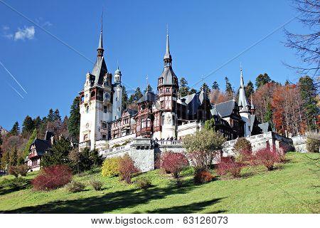 Peles Castle, a Neo-Renaissance style building, in Sinaia Romania. poster