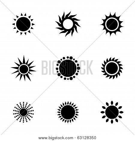 Vector black sun icons set