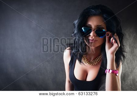 Portrait Of Sexy Brunette. Swag