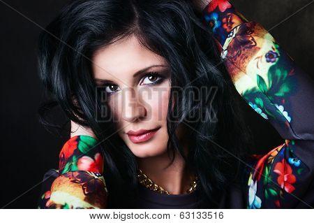 Pretty Sexy Brunette In A Flower Sweatshirts. Swag Girl.