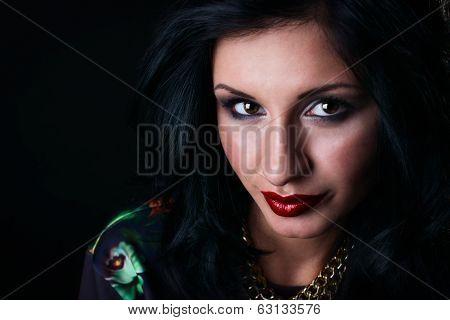 Portrait Of Pretty Brunette In Flower Sweatshirts. Swag Girl. Fashion