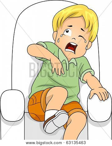 Illustration of a Little Boy Sitting on a Chair Crying from Fear
