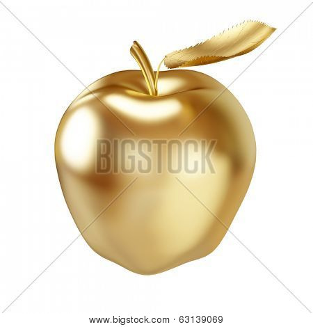 Gold apple isolated on white - 3D illustration.
