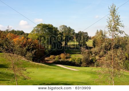 View Of An 18Th Golf Green In Autumn