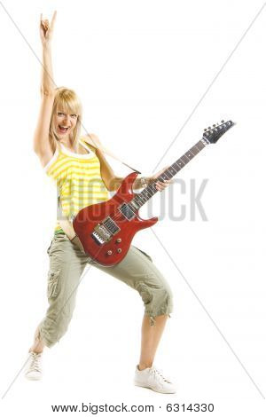 Woman Guitarist With Hand In The Air