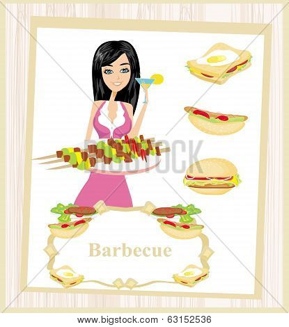 Girl Barbecuing Meat