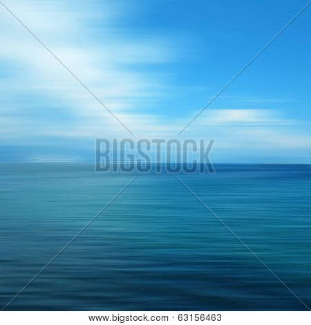 Abstract ocean seascape with blurred panning motion. poster