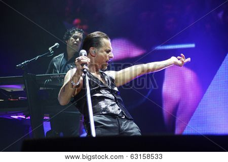 Andrew Fletcher, Dave Gahan and Martin Gore from Depeche Mode in concert at the Minsk Arena