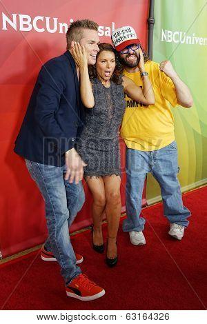 PASADENA - APR 8: Judah Friedlander, Kari Wuhrer, Mark McGrath at the NBC/Universal's 2014 Summer Press Day held at the Langham Hotel on April 8, 2014 in Pasadena, California