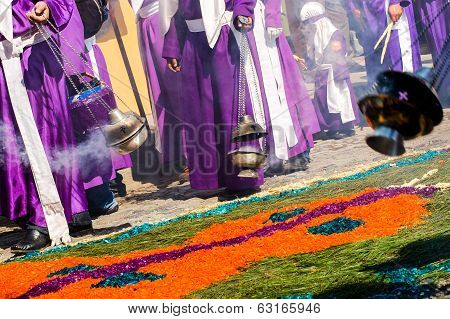 Cucuruchos & Incense Burners, Holy Week Procession, Antigua, Guatemala