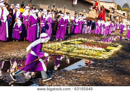Cucuruchos In Holy Week Procession, Antigua, Guatemala