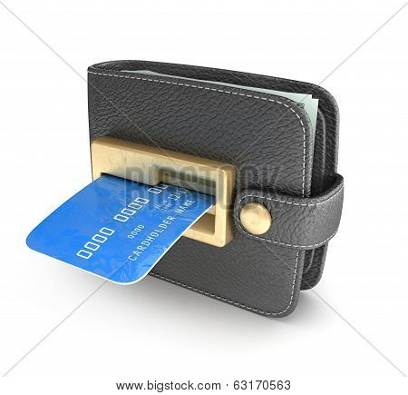 ATM cash point slot in the wallet on an isolated white background