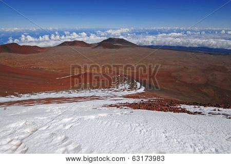 Above the clouds with Snow on the summit of Mauna Kea, Hawaii poster