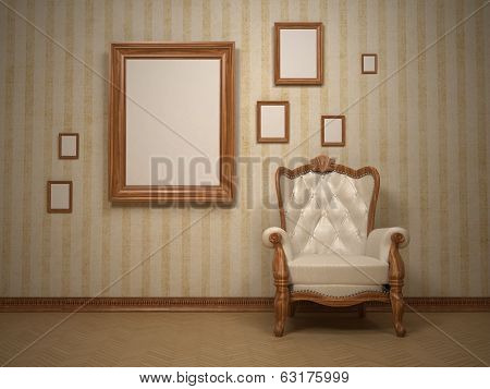 Classic antique interior with chair and photo frame, old style, 3d render (my own 3d model)
