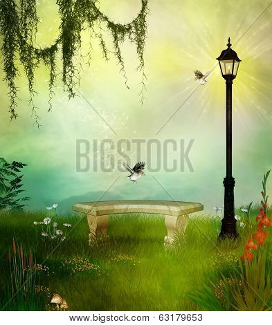 park with a bench and streetlamp